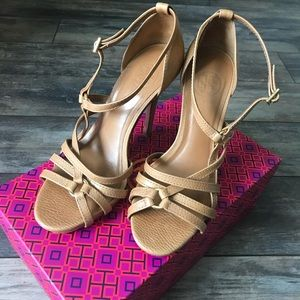 Tory Burch tan strappy heels